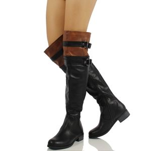 Shoes - Size 5.5 Black Tan Two Tone Over the Knee Boot